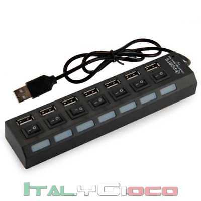 Hub Sdoppiatore 7 Porte USB Interruttore Led Blu Ciabatta Interruttori on / off