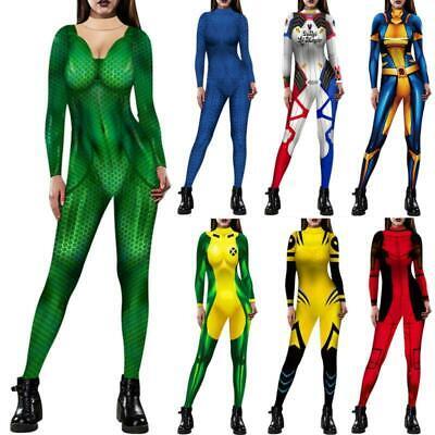 Women X-Men Mystique Jumpsuit 3D Printed Halloween Party Cosplay Fancy Costume