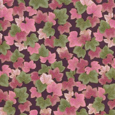 Imperial Garden Pink Grn Leaves Prpl Cotton Fabric Bty For Quilting  Craft Etc
