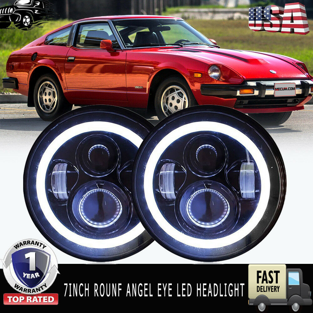 "1970-78 Datsun 240Z 260Z 280Z 280ZX Headlights 7/"" Chrome LED Projector Headlamps"