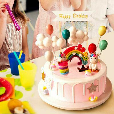 16 Stück Cake Topper Kuchendeko Tortendeko Girlande Regenbogen Luftballons Wolke