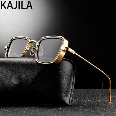 Vintage Steampunk Sunglasses 2020 Retro Metal Square Eyewear Gold Gray Lenses