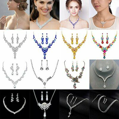 Vogue Prom Wedding Bridal Party Jewelry Set Crystal Rhinestone Necklace Earrings Crystal Bridal Wedding Jewelry