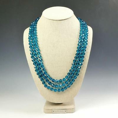 Crystal Bead Necklace (Sparkling Faceted Teal Blue Crystals Bead Knotted 72