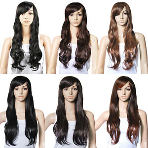 27-UK-Top-Quality-Hair-Gorgeous-Ladies-Long-Wavy-Curly-Full-Wig-3-Colors