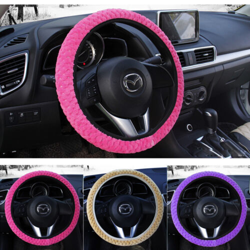 4 Color Car Steering Wheel Cover Car-styling Winter Pearl Velvet Soft Warm Plush