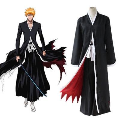 Bleach Ichigo Halloween Costume (Anime Bleach Ichigo Kurosaki Bankai Uniform Cloak Coat Halloween Cosplay)