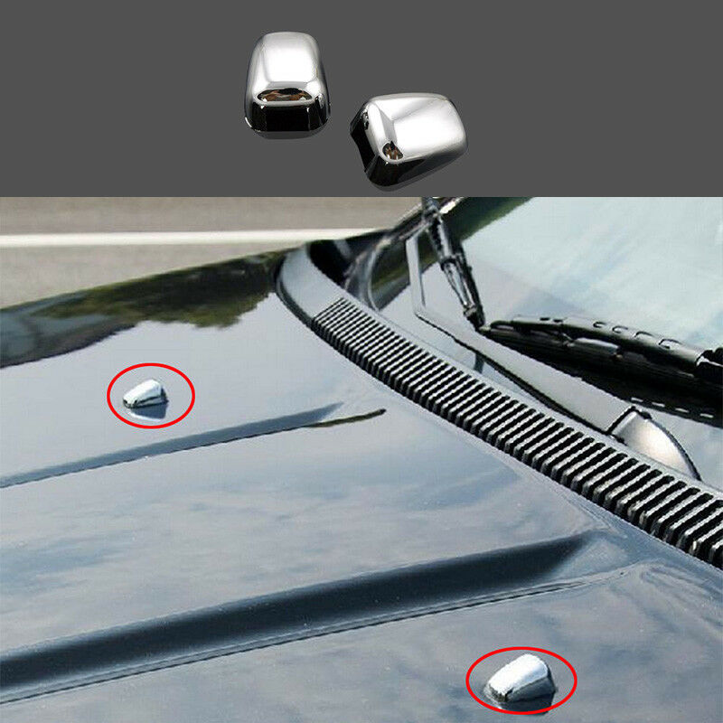 2Pcs Chrome Windshield Wiper Nozzle Cover Fit For Jeep Compass ...