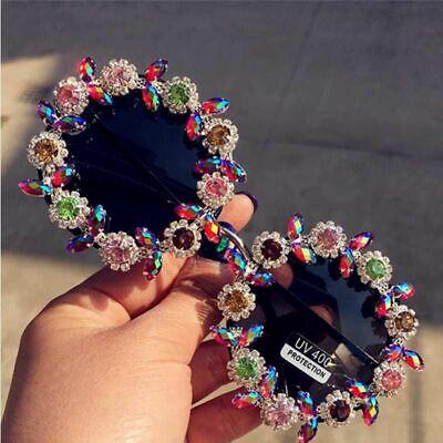 Blume Sonnenbrille für Damen Mädchen Kreis Rund Brille Kristall Retro-Design Neu