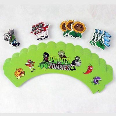 24pcs Plants VS Zombies Cupcake Wrapper Topper Picks Party Birthday Decoration  - Plants Vs Zombies Party Decorations
