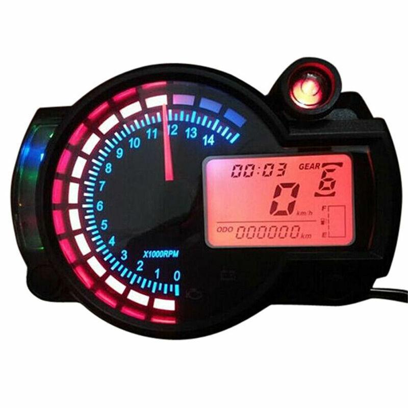 15000 Rmp Kmh Universal Lcd Digital Dual Colors Speedometer Tachometer Gauge Led