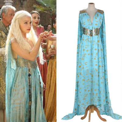 Mother Of Drachen Game Of Thrones Daenerys Targaryen Kostüm Langes Kleid - Daenerys Targaryen Blau Kostüm