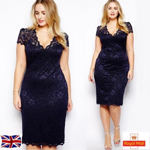 Sexy Lady Womens Cut Lace Bodycon Formal Dress Evening Party Cocktail Plus Size