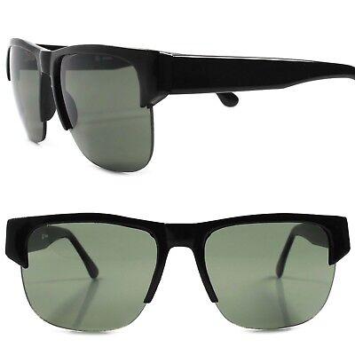 True Vintage 80s 90s Hip Hop Rapper Mens Womens Fashion Black Square Sunglasses