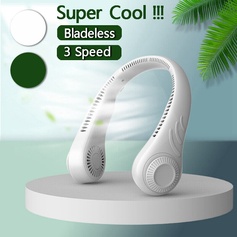 Portable Neckband Lazy Neck Fan Hanging Dual Cooling USB Rechargeable Mini Fan
