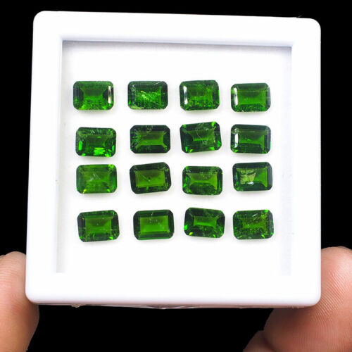 16 Pcs Natural Chrome Diopside 7mm/5mm Emerald Cut Vivid Green Dazzling Gems