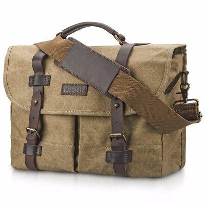 """Lifewit 15"""" Canvas DSLR Camera Bag Vintage Leather Messenger Shoulder Bag Khaki"""