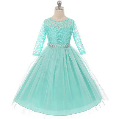 TIFFANY BLUE Flower Girl Dress Birthday Prom Party Wedding Recital Bridesmaid  - Girls Tiffany Blue Dress