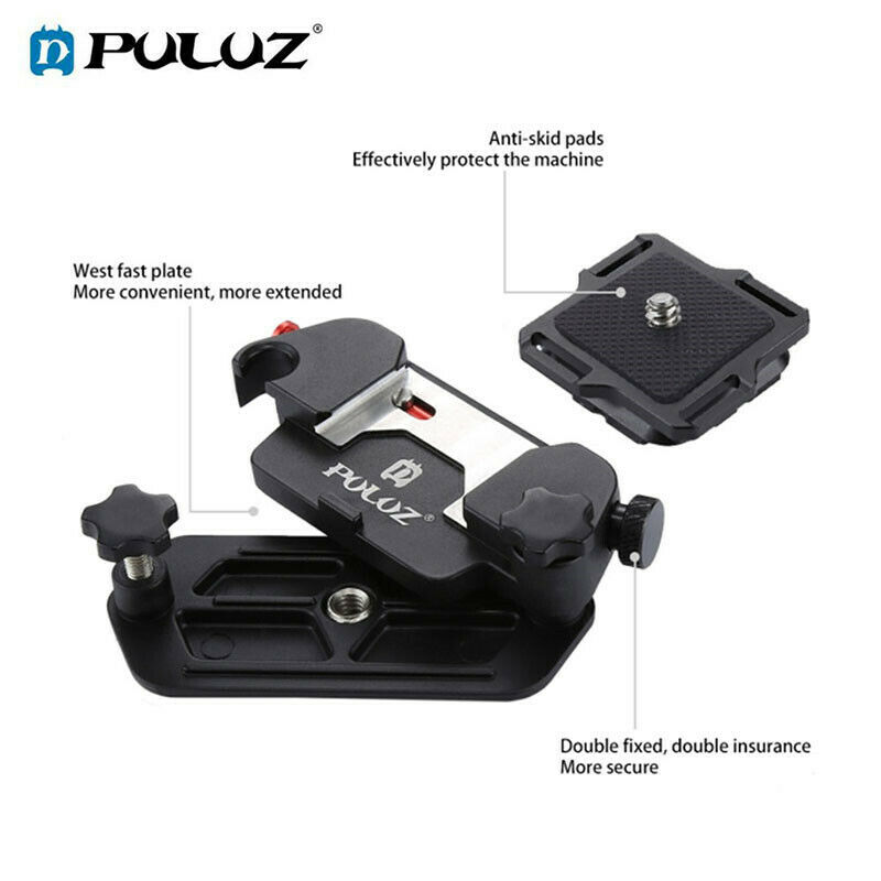 PULUZ Capture Camera Clip Monopods Aluminum Alloy Quick Release Clip with Plate
