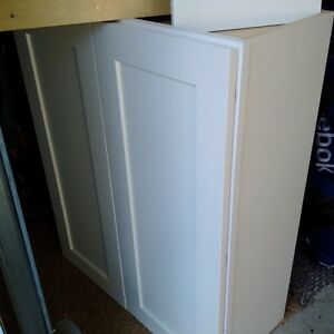 maple shaker doors painted white , solid plywood boxes