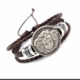 Unsex Men's bracelet Punk Medusa woven leather bracelet head cortex Medusa
