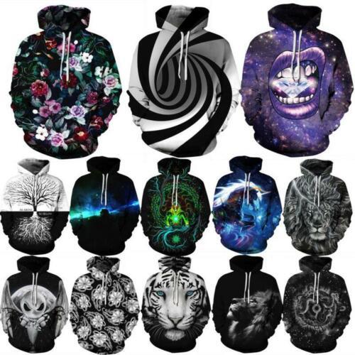 Women/Men 3D Whirl Hypnosis Print Galaxy Hoodie Sweatshirt