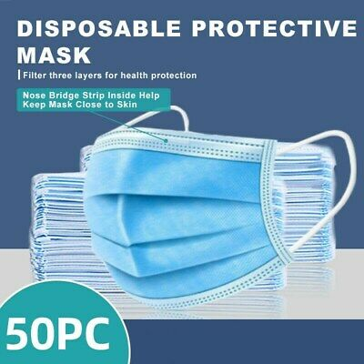 50 Pcs 3-ply Disposable Face Mask Non-medical Surgical Face Mouth Cover Caship