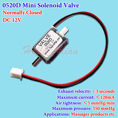 Dc12v Mini Electric Control Solenoid Valve Normally Closed Gas Air Exhaust Valve