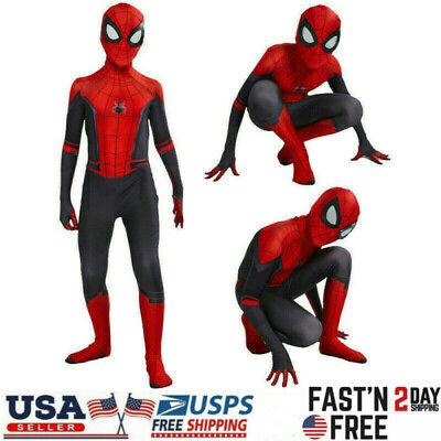 Costume For Boy (Spider-Man Far From Home Superhero Zentai Cosplay Costume Tights Kids Boys)