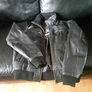Jack & Jones black leather bommer  Edmonton Edmonton Area image 2