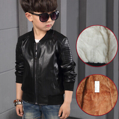 Kids Boys Girls Biker Leather Jacket Coats Children Motorcycle Outwear -