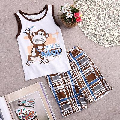 Toddler Kids Baby Boys Summer Outfits T-shirt Tank Tops+Pants 2pcs Clothes Set ()