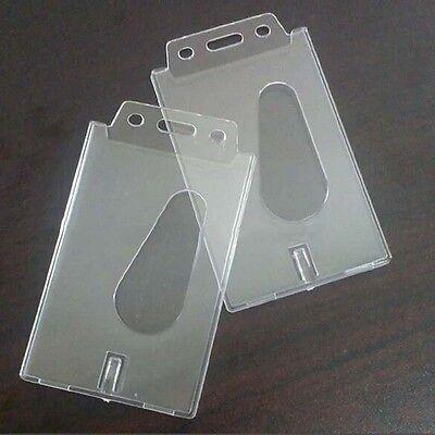 Vertical Transparent Hard Plastic Business Credit Card Id Badge Holderk0