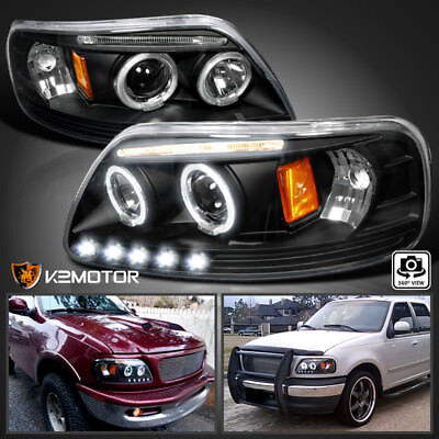 For 1997-2004 Ford F150 LED Strip Halo Projector Headlights Black Left+Right
