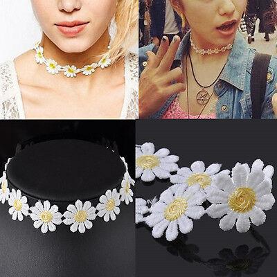 (White Lolita Lace Choker BIB Cute Daisy Flower Yellow Collar Necklace Jewelry )