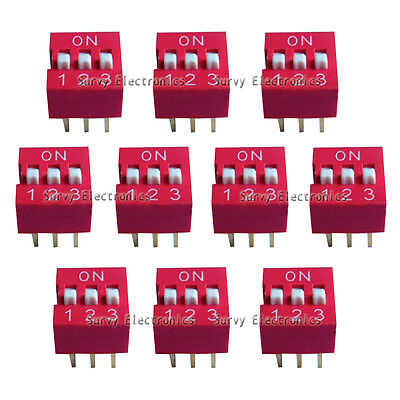 10pcs New 3p 3 Position Dip Switch Side Style 2.54mm Pitch Through Hole Diy Good