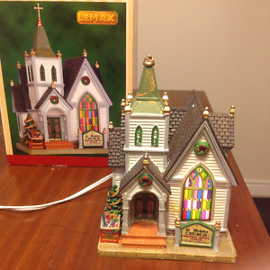 Christmas Ceramic Church with Lighted Window