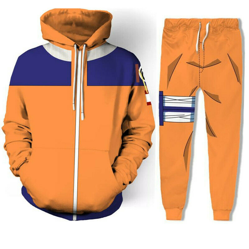 Naruto Shippuden Uzumaki Cosplay Hoodie Sweatshirt Jacket+Pant Costume Tracksuit Clothing, Shoes & Accessories