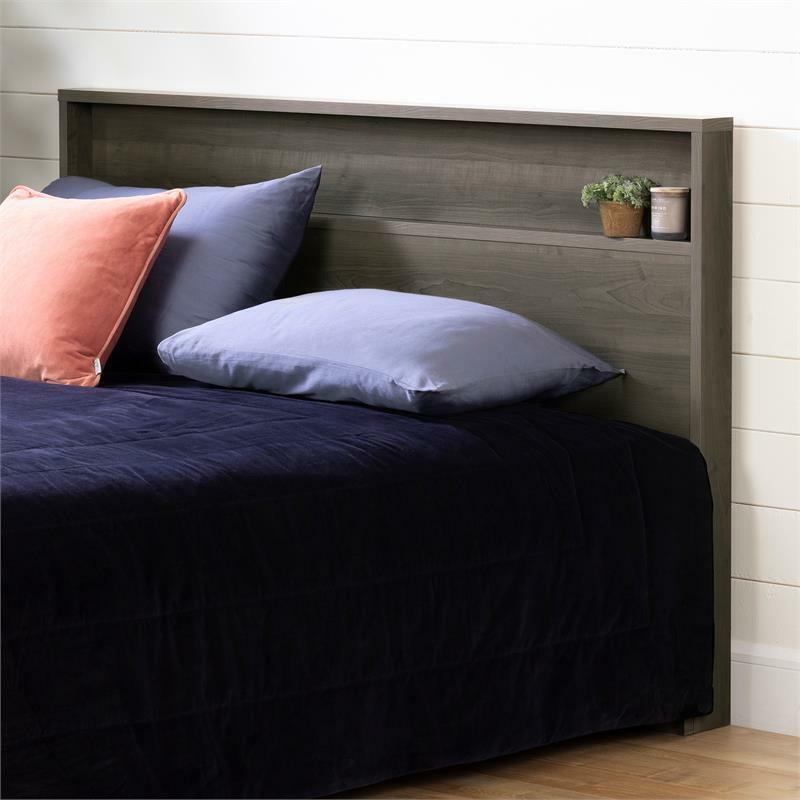 Gravity Headboard with Shelf-Full/Queen-Gray Maple-South Shore