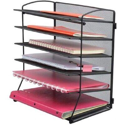 Wall Mount File Organizer 6-tier Mesh Desktop File Organizer Black