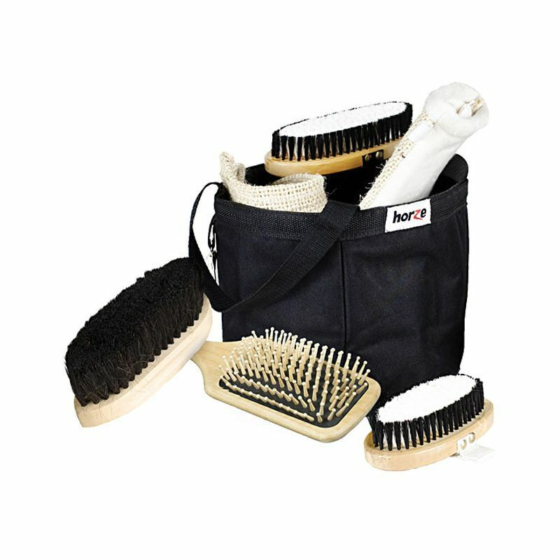 Horze Grooming Set In A Black Bag Black