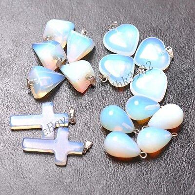 - White Opal Gemstone Heart/Water Drop/Cross/Taper Pendant Beads Necklace Earrings