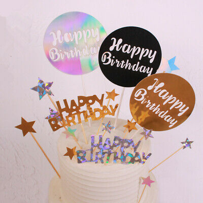 Glitter Flag Banner Cake Topper Baby Shower Wedding Happy Birthday Party Decor