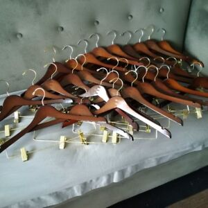 Wooden Clothes hangers with clips