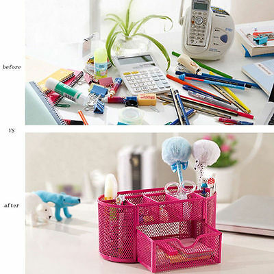 Desktop Organizer Tray Box Drawer Desk Storage Pencil Pen Holder Office Supplies