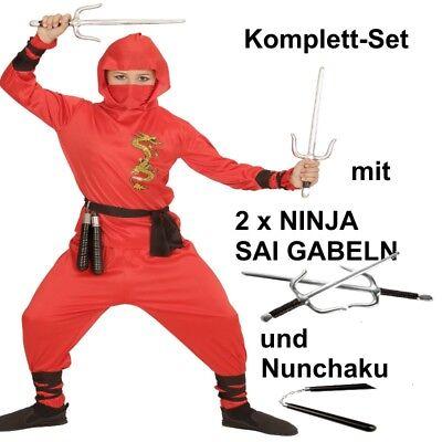 RED DRAGON NINJA Kinder Kostüm Gr.158 Komplett Set mit 2 SAI GABELN und Nunchaku