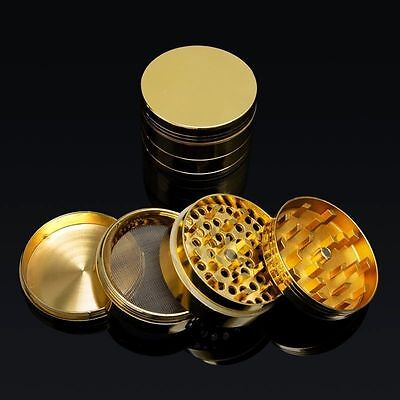 "NEW 2"" 4pc Metal Hand Muller Herb Spice Tobacco Grinder Crusher Crusher Gold"