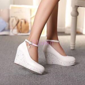 Womens Lady Platform Wedge Heel Faux Leather Court WEdding Shoes Pump Rhinestone