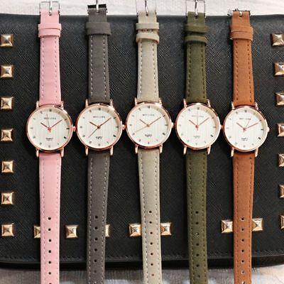 Neue Luxus Armbanduhr für Damen Halbmond Quarzuhr Kunstleder Frauen Beobachten