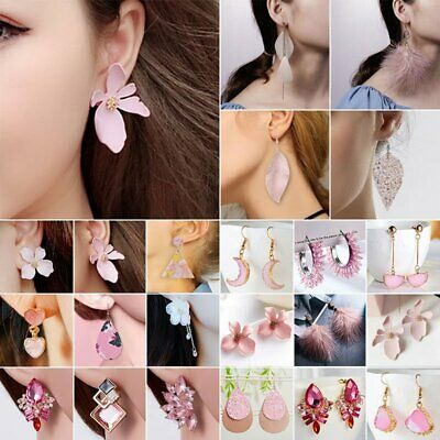 Fashion Pink Leather Crystal Earrings Women Statement Drop Dangle Ear Stud Gifts